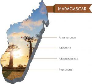 La cartina del Madagascar con le missioni della diocesi di Reggio Emilia
