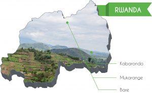 La cartina del Rwanda con le missioni della diocesi di Reggio Emilia