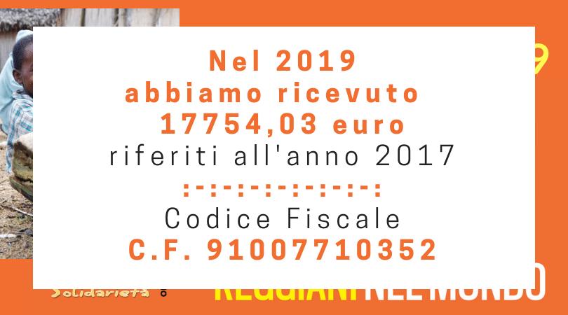 Nel 2019 abbiamo ricevuto 17754,03 euro riferiti all'anno 2017
