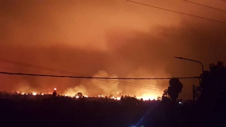 Eruzione del Vulcano di notte - Congo